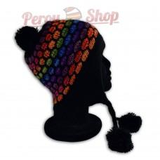 Bonnet péruvien modèle pompon noir multicolore des Andes