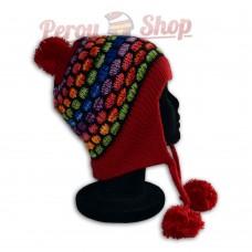 Bonnet péruvien modèle pompon rouge multicolore des Andes