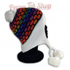 Bonnet péruvien modèle pompon blanc multicolore des Andes