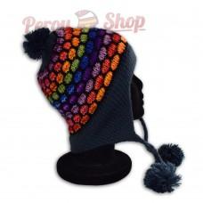 Bonnet péruvien modèle pompon bleu multicolore des Andes