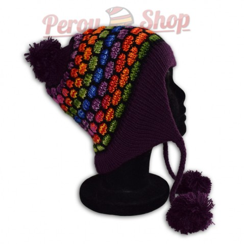 Bonnet péruvien modèle pompon violet foncé multicolore des Andes