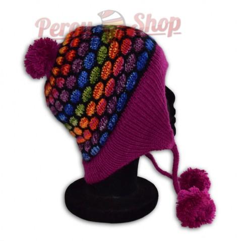 Bonnet péruvien modèle pompon violet multicolore des Andes