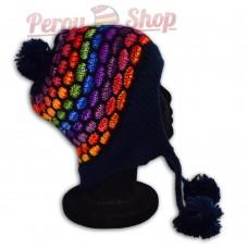 Bonnet péruvien modèle pompon bleu foncé multicolore des Andes