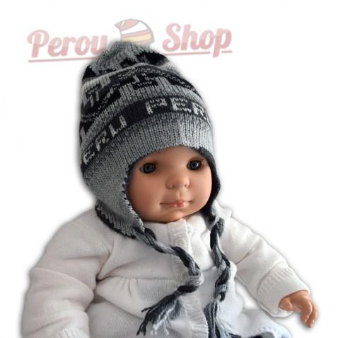 Bonnet péruvien pour bébé réversible modèle llamitas