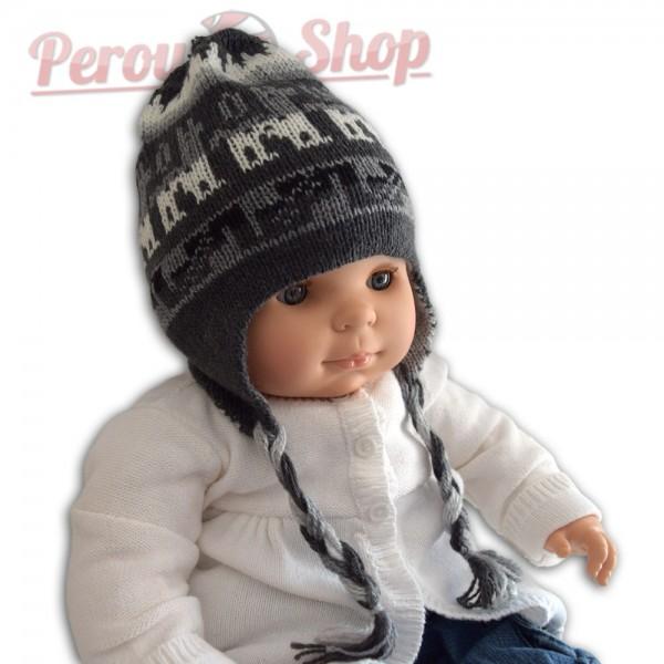 joli bonnet p ruvien en laine alpaga avec pompon pour b b. Black Bedroom Furniture Sets. Home Design Ideas