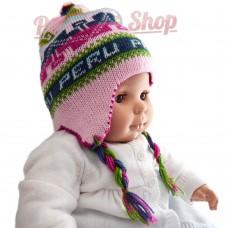 Bonnet péruvien pour bébé réversible rose