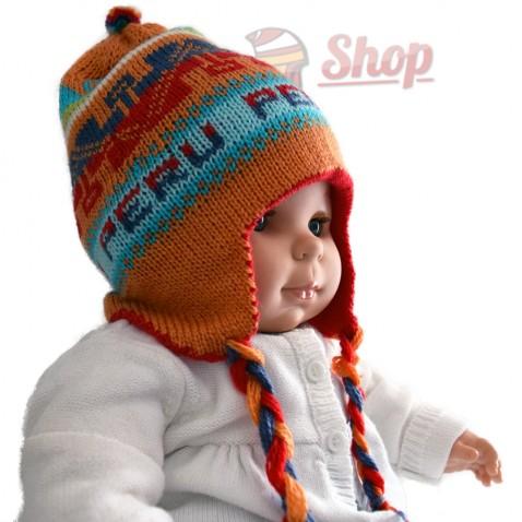 Bonnet péruvien pour bébé réversible orange
