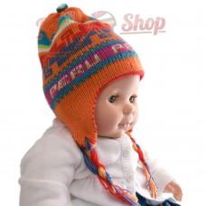 Bonnet péruvien pour bébé réversible orange clair
