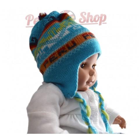 Bonnet peruvien bébé réversible turquoise