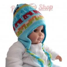 Bonnet péruvien pour bébé réversible turquoise