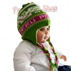 Bonnet péruvien pour bébé réversible vert