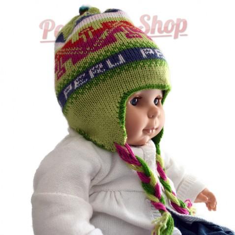Bonnet péruvien pour bébé réversible