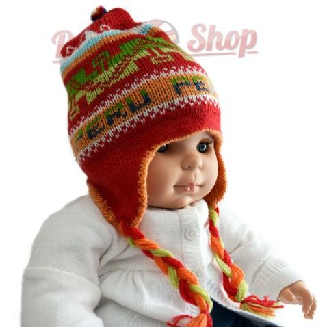 Bonnet péruvien pour bébé réversible rouge