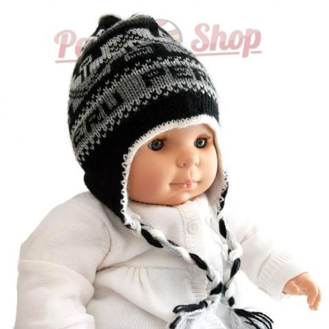 Bonnet péruvien pour bébé réversible noir
