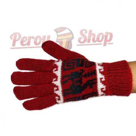 Gants en laine d'alpaga réversibles rouges