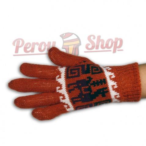 Gants en laine d'alpaga réversibles orange