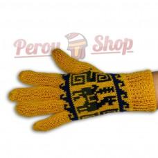 Gants en laine d'alpaga réversibles jaune