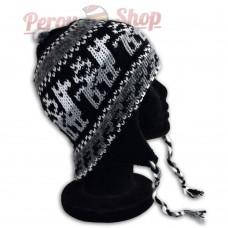 Bonnet Péruvien noir en laine d'alpaga