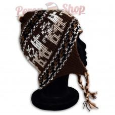 Bonnet Péruvien marron en laine d'alpaga