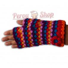 Mitaines courtes en laine d'alpaga multicolore