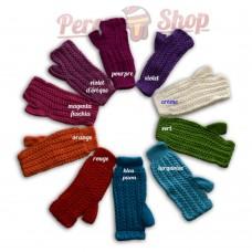 Mitaines courtes en laine d'alpaga colorées