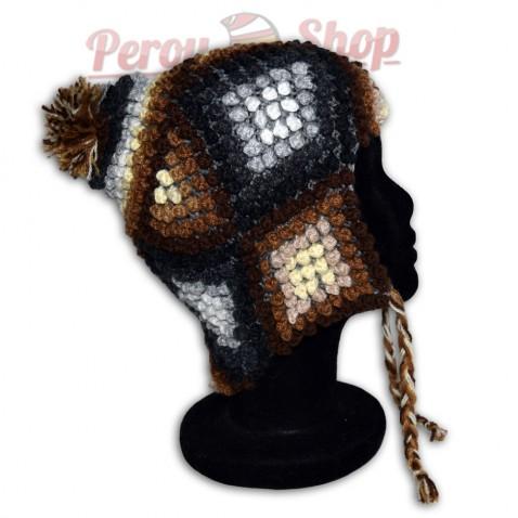 Bonnet Péruvien en laine d'alpaga modèle Ausangate