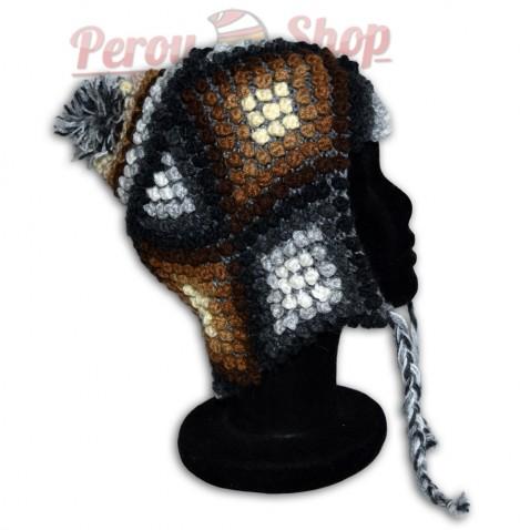 Bonnet Péruvien en laine d'alpaga modèle Lima
