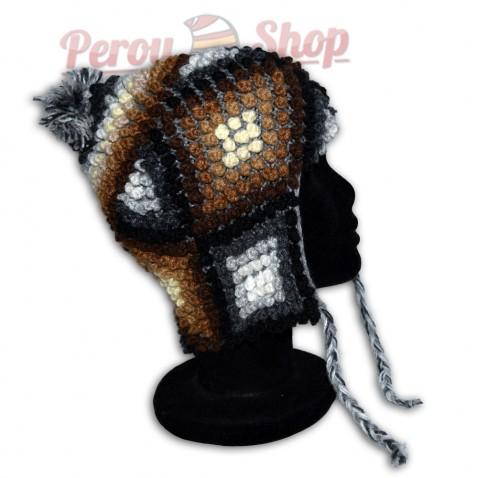 Bonnet Péruvien en laine d'alpaga modèle Pisco