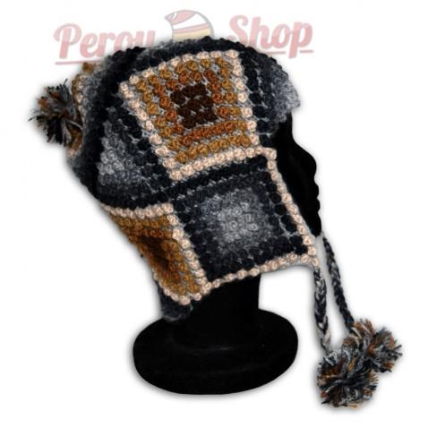 Bonnet Péruvien en laine d'alpaga modèle Wari