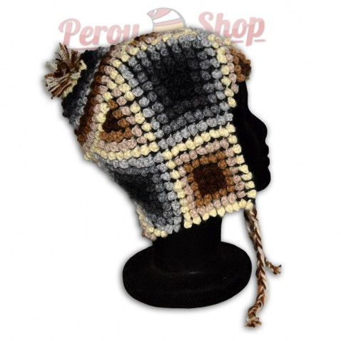 Bonnet Péruvien en laine d'alpaga modèle Quechua