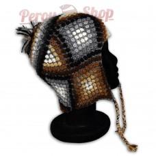 Bonnet Péruvien en laine d'alpaga modèle Palpa