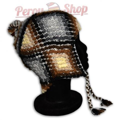 Bonnet Péruvien en laine d'alpaga modèle Mochica