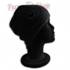 Bonnet femme avec fleur noir