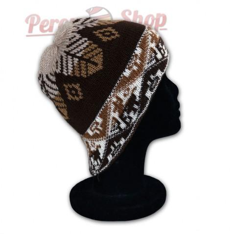 Bonnet marron en laine d'alpaga